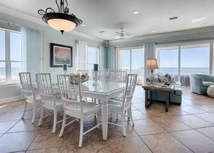 One of two dinning tables with views of the Gulf of Mexico!