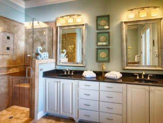 Master bathroom with large jetted tub and separate walk in shower & double sinks
