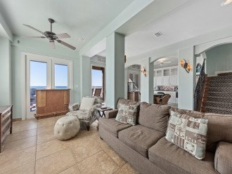 Second living area on first level going to beach & kitchenette. Sleeper sofa!