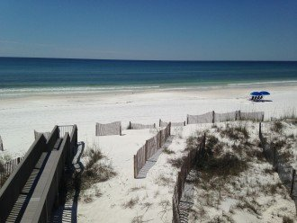 Private Beach looking West. Easy access out door on first level deck!