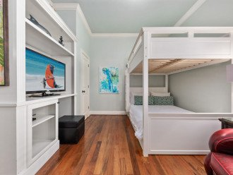 Full size Pottery Barn bunk beds connecting to Jack 'n Jill bathroom.