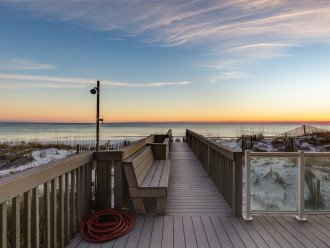 Private boardwalk to the beach! Sitting area to watch sunsets. Outdoor shower.