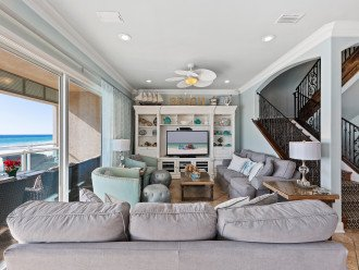 """Living /great room with 55"""" HD TV, 2 sleeper sofas & views of Gulf of Mexico!"""