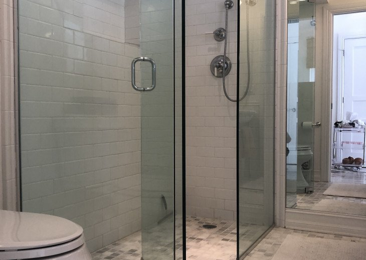 Step in shower, comfort height toilet.
