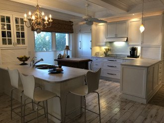 Kitchen with marble counters, induction cooktop, wine cooler.