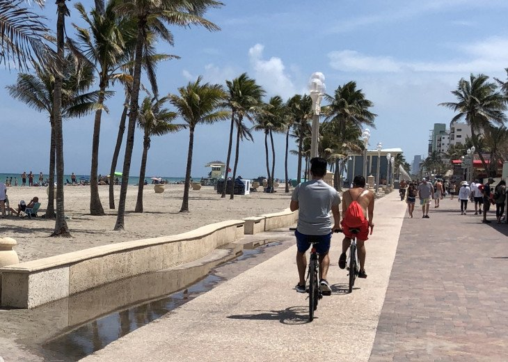 The busy Hollywood Broadwalk is a short bike ride away!