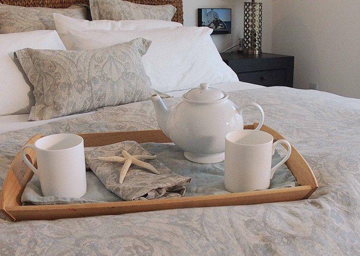 Frette sheets, Restoration Hardware linens, comfy mattresses, quiet neighborhood