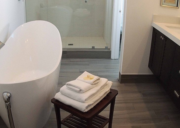 North Master ensuite with large walk-in shower, soaker tub and double vanity