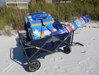Beach wagon with chairs & toys