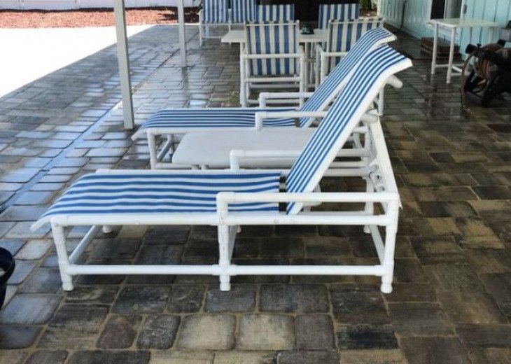 Covered patio with PVC patio furniture
