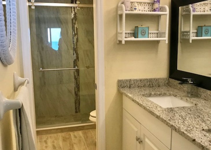 Brand new shower and double sinks with waterfall faucets