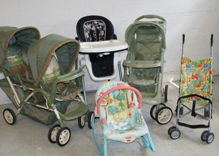 Strollers, high chair, and baby seat