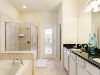 First floor master suite with walk in bathroom