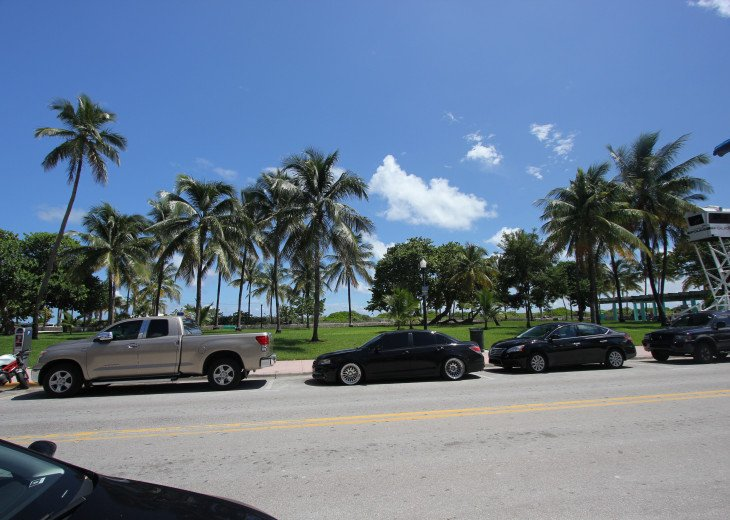 view from the first floor of the building to beach and Lummus Park