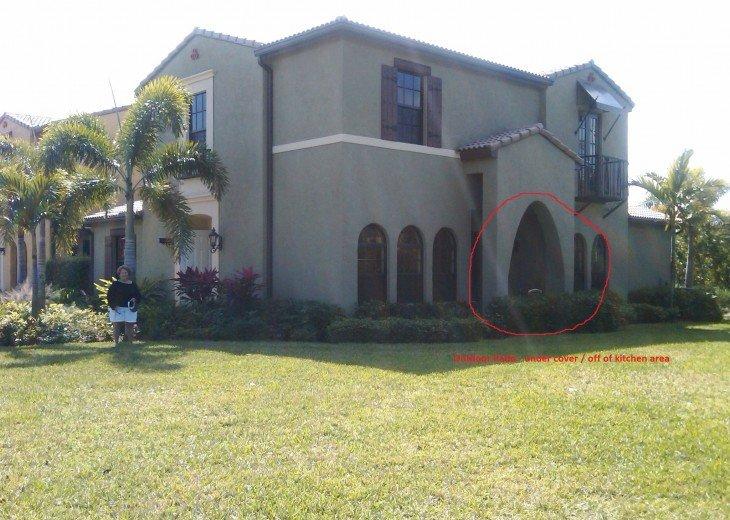 Rear Elevation of Villa showing Patio Location