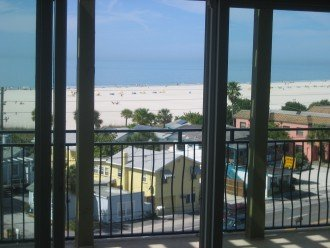 view of beach and gulf from unit
