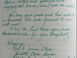 click to enlarge this Clark guestbook note