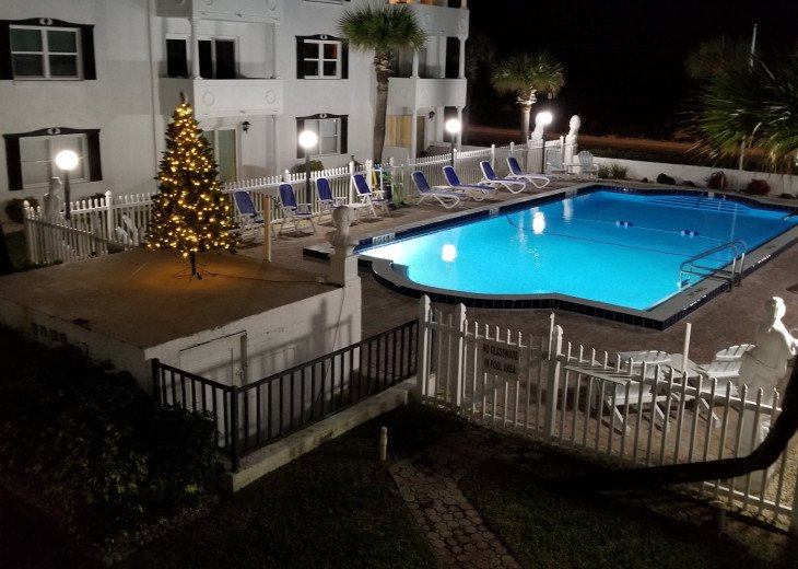 Pool View at Night w Christmas Tree from Our 2nd Floor Balcony