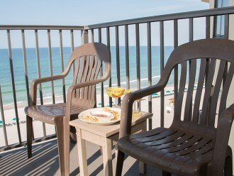 Sit back and enjoy our secluded balcony where you will see dolphins.