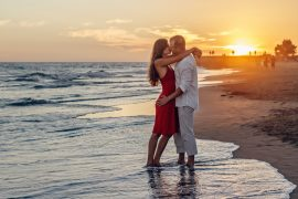Top Florida vacation spots for couples, couple on beach at sunset